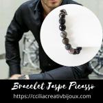 bracelet perles jaspe picasso