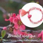 bracelet pompon rose