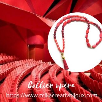 collier opéra rouge
