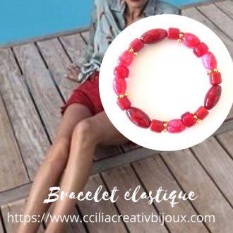 bracelet perles rouges