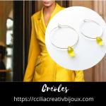 créoles perle jaune